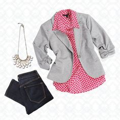 Love this look! Love the grey blazer. Love the blouse. That's the kind of print I like! Hate novelty/ critter prints. Love the color.  Reds/pinks/corals - Yes!