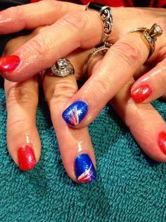 Bronco Nails #shellac #orange #blue Broncos Nails, Denver Broncos, Shellac, Super Bowl, Class Ring, Football, Orange, Blue, Beauty
