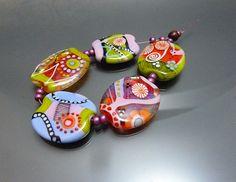 Handmade lampwork set five glass beads in pink by melaniemoertel, $120.00