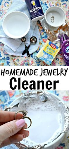 Learning how to clean jewelry has never been easier with this Homemade Jewelry Cleaner. Cleaning diamond rings with every day household products will save you a trip to the jeweler and will make your jewelry sparkle and shine! #howtocleandiamondsjewelry #howtocleandiamondsbeauty #homemaderings #diamondscleaning