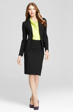 A black blazer + a black pencil skirt is another great way to dress professionally!