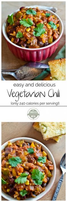 Easy Vegetarian Chili Recipe | theendlessmeal.com