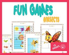 GAMES FOR KIDS, puzzles, games for children, dominos games, memory game, printable games, puzzle for toddler, kindergarten games, insects by LearningMadeFunStore on Etsy Puzzle Games For Kids, Puzzles For Toddlers, Fun Games For Kids, Toddler Activities, Grammar Games, Kindergarten Games, Memory Games, Insects, Nanning