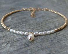 Pulsera de perlas de agua dulce de Dama de honor de Dama de honor regalo dama joyas Dama de honor pulsera joyería de la boda de oro pulsera de perlas