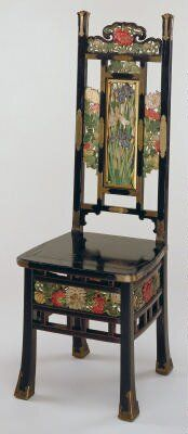 High-back Side Chair, Artist Unknown (Japan), late century Absolutely beautiful. Japanese Furniture, Funky Furniture, Furniture Styles, Unique Furniture, Vintage Furniture, Painted Furniture, Furniture Design, Living Furniture, Silla Art Deco