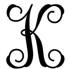 Vine Monogram Letter K Initial