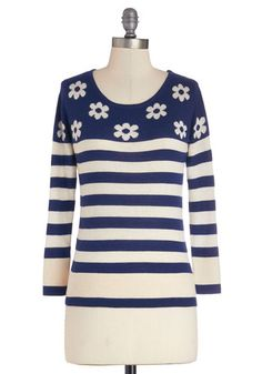 School Daisy Sweater by Yumi - Blue, White, Stripes, Floral, Casual, Better, Knit, Mid-length, Sweater, Long Sleeve, Scoop