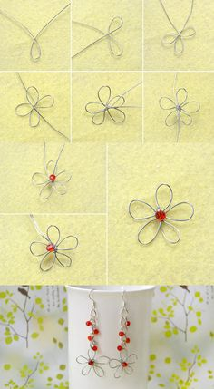 Tutorial For Flower Earrings Making From - Diy Crafts Nail Polish Jewelry, Nail Polish Flowers, Wire Jewelry Designs, Diy Jewelry Tutorials, Wire Wrapped Jewelry, Beaded Jewelry, Handmade Jewelry, Jewellery, Wire Crafts