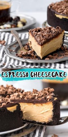 The most amazing espresso coffee cheesecake with an oreo crust and a layer of chocolate ganache! This cheesecake contains real espresso for a BIG coffee taste! The most amazing espresso coffee cheesecake with an oreo crust and a layer of chocolate Coffee Cheesecake, Cheesecake Desserts, No Bake Desserts, Easy Desserts, Delicious Desserts, Turtle Cheesecake Recipes, Baileys Cheesecake, Cheesecake Bites, Cheesecake With Oreo Crust
