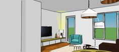 Martijne Interieur - Project Nibbeland. Sketch design for a livingroom. Smart space saving (customised) furniture and light colors keep the room spacious.