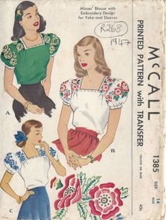 Vintage fashion style color illustration 40s sewing pattern red white green blouse ethnic embroidered floral Mexican square neckline 1947-Vintage-Sewing-Pattern-BLOUSE-TRANSFER-B34-R268