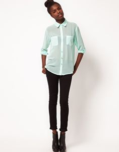 ASOS Pastel Shirt With 3/4 Length Sleeves