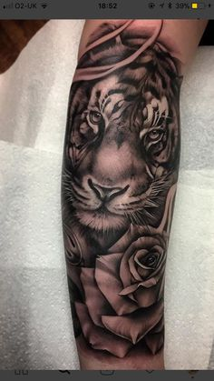 Tiger and roses