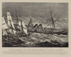 """Illustration: """"The Sinking of the Steamship Ville du Havre"""" by Currier & Ives, c.1873. Source: Library of Congress Prints and Photographs Division. Read more on the GenealogyBank blog: """"'It Is Well with My Soul': the Story of Horatio Spafford."""" http://blog.genealogybank.com/it-is-well-with-my-soul-the-story-of-horatio-spafford.html"""