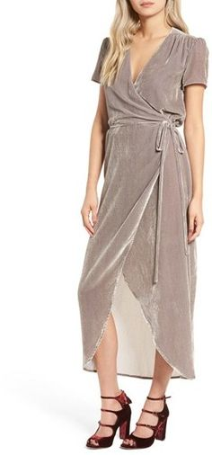 romantic velvet wrap dress is gracefully shirred near the shoulders and cinched at the waist. Women's Wayf Next To You Velvet Wrap Dress Velvet Bridesmaid Dresses, Bridesmaids, Wrap Dress, Dress Up, Tie Dress, Cotton Lingerie, Fashion Forecasting, Winter Trends, Holiday Dresses