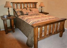 Faux Barnwood Bed   Rustic Furniture Mall by Timber Creek