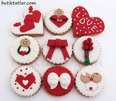 Valentines Cakes And Cupcakes, Holiday Cupcakes, Love Cupcakes, Valentines Food, Valentine Cookies, Iced Cookies, Cute Cookies, Royal Icing Cookies, Cupcake Cookies