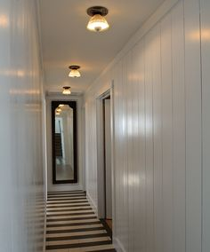 punch lights instead of the usual can lighting in hallway. Black Bedroom Furniture Sets. Home Design Ideas