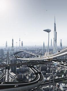 USKAO - ARXIX - futurism with rail, future city, futuristic city, futuristic architecture Futuristic City, Futuristic Architecture, Infrastructure Architecture, Chinese Architecture, Architecture Office, Fantasy Landscape, Sci Fi Fantasy, Urban Landscape, Future City