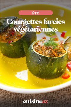 Ces courgettes farcies au poivron et quinoa sont vegan donc végétariennes.  #recette#cuisine#courgette#quinoa #vegan #vegetarien #ete Le Diner, 20 Min, Zucchini, Vegan, Vegetables, Foods, Drinks, Vegetarian Cooking, Vegetarische Rezepte