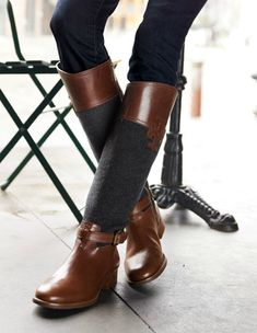 Riding boots...grey/brown combo... Perfect.
