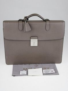 Authentic Mulberry Grey Painted Calfskin Leather Single Briefcase Bag At Yoogi S Closet