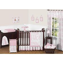 Sweet Jojo Designs Pink Toile Collection 11pc Baby Crib Bedding Set
