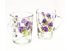 Hand Painted Coffee Tea Mugs Sparkling Clear by HandPaintedPetals, $38.50