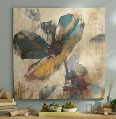 Product Details Abstract Aqua & Brown Floral Canvas Art Print - All For Herbs And Plants Abstract Canvas, Canvas Art Prints, Canvas Wall Art, Figurative Kunst, Art Moderne, Abstract Flowers, Painting Inspiration, Flower Art, Wall Art Decor
