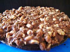Chocolate Brownie Cake with Caramel, Pistachios and Peanuts