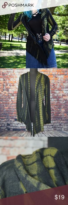 "Boutique Two-Tone Tie-Dye Hooded Duster NWOT Super edgy tie-dye duster found in a city boutique is soft, flirty and fun. Jacket has a hood for maximum drama.   Brand: Boutique Find ""Bear Dance"" label Size: Medium Color: Black & Dark Green Bust: 40"" Length: 35"" Fabric: 100% cotton Imported New Without Tags  Reasonable Offers Welcome! Bundle and Save on Shipping! Boutique Sweaters Cardigans"