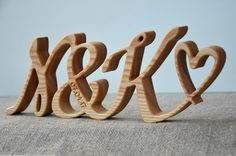 4 inches Free Standing Wood Initials, Personalized Valentines Day Wedding Anniversary Gift Script Words, Wood Letters Home Decor 5th Anniversary Gift Ideas, Wedding Anniversary Gifts, Handmade Wooden Toys, Wooden Gifts, Wood Initials, Personalized Valentine's Day Gifts, Beeswax Polish, The Wedding Date, Wood Letters