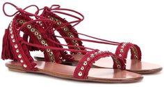 Aquazzura Careyes Fringed Suede Sandals