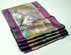 Butterfly Impressions painted silk scarf by  Lena Reznikova