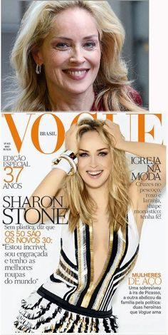 "Totten Ward Ink says ""After I posted the Sharon Stone Vogue cover, my friend Kimberly Shell sent me the top image for comparison. I absolutely love that picture of Sharon. Here are the images together. Thanks, Kimberly! Sharon Stone, Real People, We The People, Before And After Photoshop, Photoshop Fail, Celebrities Then And Now, Vogue Covers, Without Makeup, Beauty Industry"