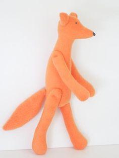 Orange Fox toy stuffed toy softie plush fox by HappyDollsByLesya