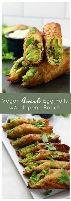 Vegan Copycat Cheesecake Factory Avocado Egg Rolls - Eat. Drink. Shrink. Vegan Egg Rolls, Avocado Egg Rolls, Egg Roll Wraps, Roll Eat, Vegan Sour Cream, Vegan Snacks, Copycat, Food Videos, Food Print