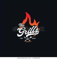 Grill Vintage Logo Vector Template témájú stockvektorkép (jogdíjmentes) 1708092286