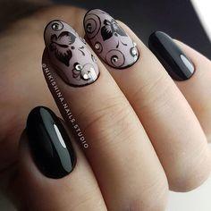 Маникюр | Ногти Black Nail Designs, Black Nails, Mail Art, How To Do Nails, Gemstone Rings, Gemstones, Beauty, Fashion, Community