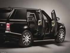 Range Rover Sentinel - £290,435 - Bullet proof, bomb proof - If the main doors are blocked by a terrorist, passengers can scramble out using an 'emergency escape system' behind the rear seats. Despite this, the car still looks like a standard Range Rover with a split-level tailgate