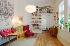 narrow room, floating wall shelves