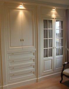 Large closet doors built ins ideas Reach In Closet, Build A Closet, Double Closet Doors, French Closet Doors, Closet Curtains, Closet Wall, Bathroom Closet, Closet Paint, Painted Closet