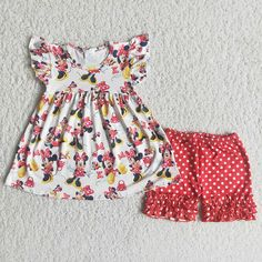 Girl Cartton Bow Red Polka Shorts Outfit - 7-8T