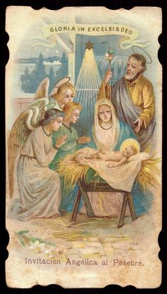 GLORIA IN EXCELSIS DEO Nativity Creche with Angels. Old litho HOLY CARD die cut