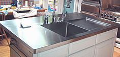 stainless steel countertop - love the sink and draining board section