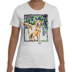 Graphic t shirt with a fun golden
