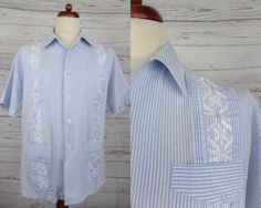 Vtg s-sleeve blue #stripe haband #guayabera shirt #rockabilly -xl- cq74,  View more on the LINK: http://www.zeppy.io/product/gb/2/162150938663/