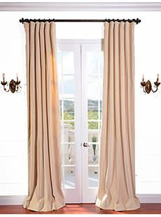 British Tan Vintage Cotton Velvet Curtain Mauve Textured Linen Blend Pole Pocket Curtain on discounted prices with coupon and promo codes from Halfpricedrapes.com.
