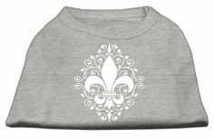 Mirage Pet Products Henna Fleur De Lis Screen Print T-Shirt Dog Clothing Apparel Costume Pet Outfit Grey Lg (14)