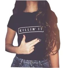 Killin It Fashion Cotton Women T shirt T-shirt Tops Harajuku                      – Dolphin Buy Now